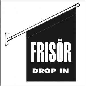 "Fasadflagga  ""Frisör - Drop in"""